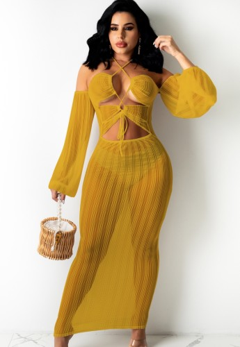 Robe transparente jaune d'été