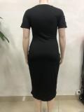 Vestido de camisa larga entallada con estampado negro casual de talla grande de verano