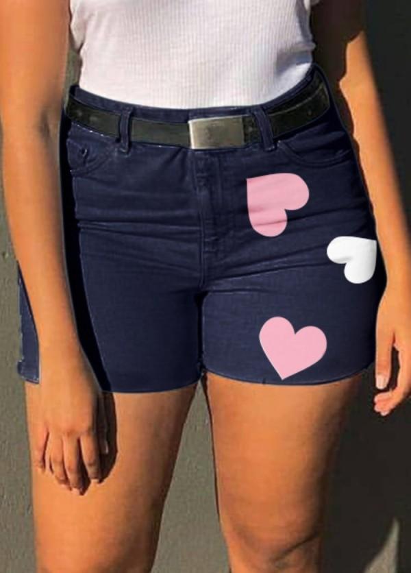 Pantalones cortos de mezclilla de corazones de cintura alta azul oscuro casual de verano