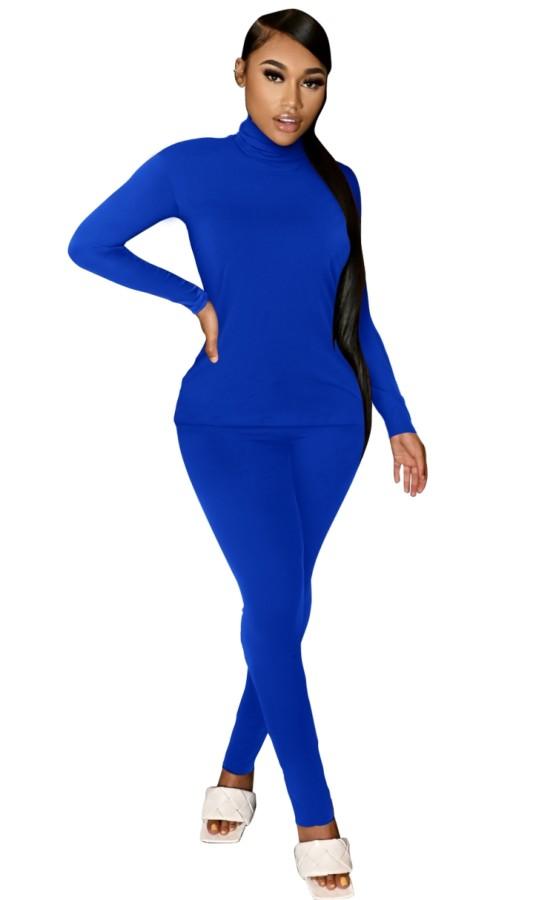 Autumn Casual Blue Turtleneck Shirt and Pants Matching Set