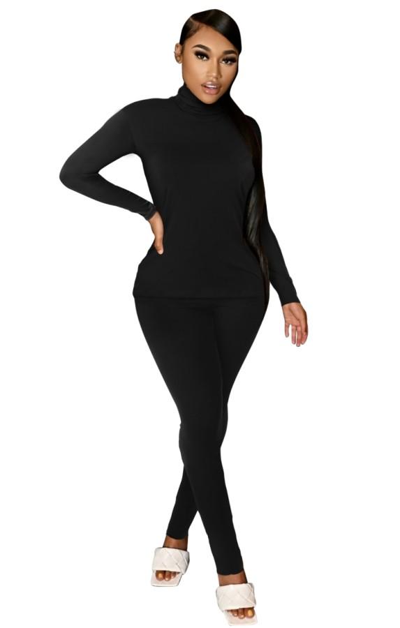 Autumn Casual Black Turtleneck Shirt and Pants Matching Set