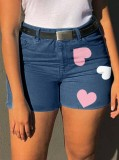 Pantalones cortos de mezclilla de corazones de cintura alta azul casual de verano