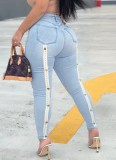 Sommer Sexy Washed Blue High Waist Fit Jeans