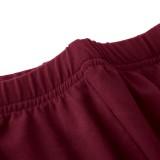 Conjunto a juego de camisa y pantalón de cuello alto rojo informal de otoño