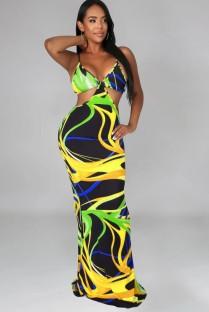 Zomer sexy veelkleurige print uitgesneden riem lange jurk