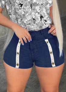 Shorts jeans de cintura alta sexy azul escuro com cintura alta