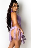 Summer Beach Purple Knit Borlas Sexy Cover-Ups