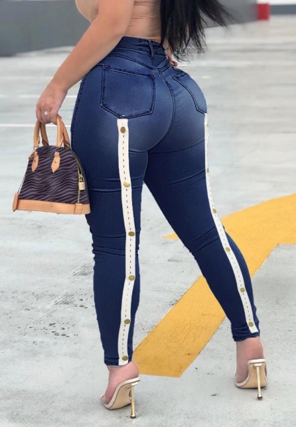 Summer Sexy Dark Blue High Waist Fitted Jeans
