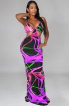 Vestido largo con tirantes recortados y estampado multicolor sexy de verano