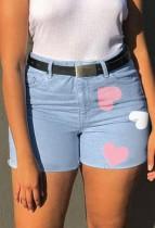 Sommer Lässige Blaue Jeansshorts mit hoher Taille und Herzchen