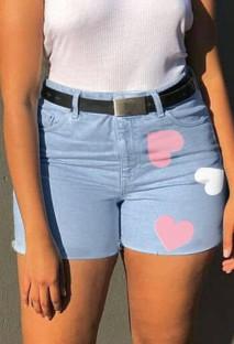 Shorts jeans casual de verão azul lavado com cintura alta e corações