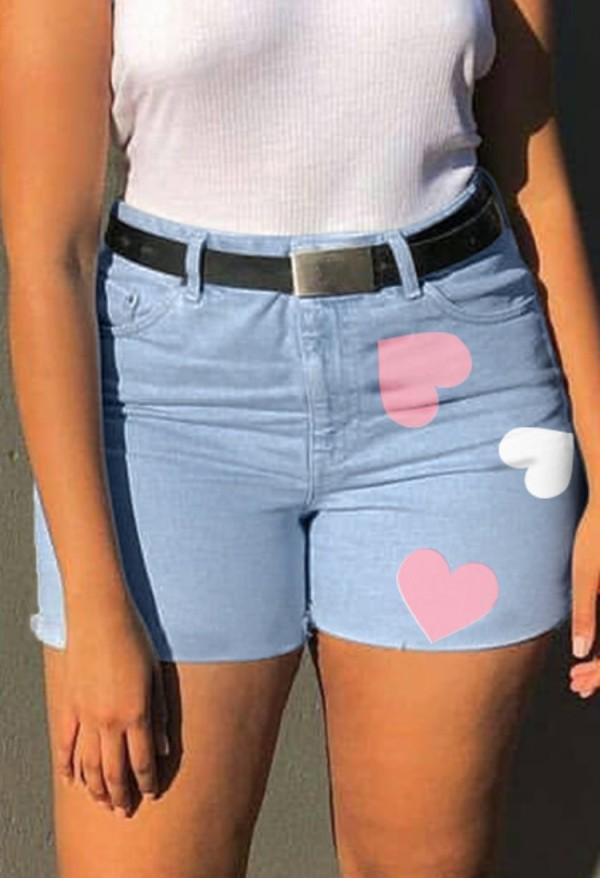Pantalones cortos de mezclilla de corazones de cintura alta azules lavados casuales de verano