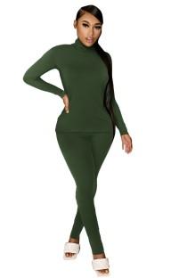 秋のカジュアルグリーンタートルネックシャツとパンツのマッチングセット