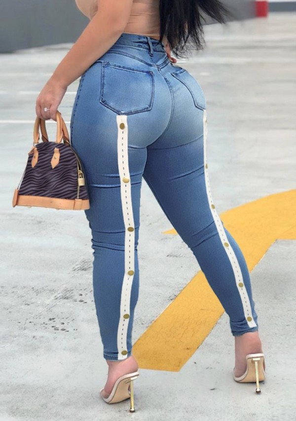 Jeans ajustados de cintura alta azul sexy de verano