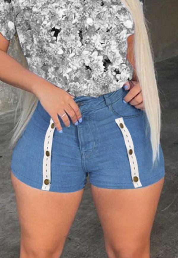 Pantalones cortos de mezclilla ajustados de cintura alta azul sexy de verano