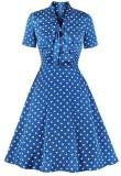 Vestido de fiesta de manga corta con lunares azul vintage de verano