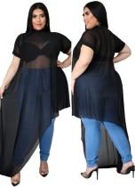Sommer Plus Size Sexy Schwarz Durchsichtig Unregelmäßige Party Langes Top
