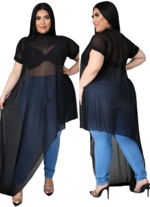 Zomer plus size sexy zwarte doorschijnende onregelmatige feest lange top