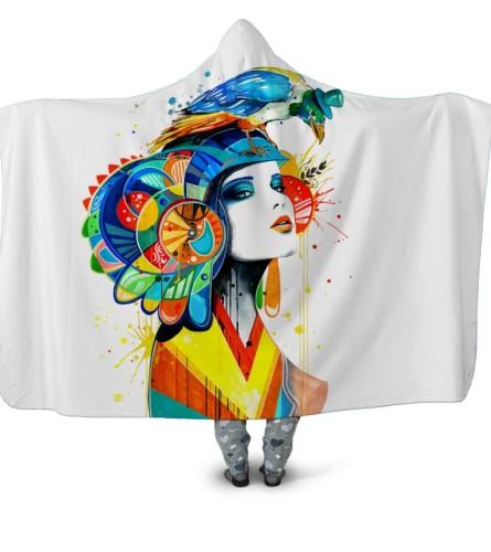 Cobertor com capuz grande estampado de personagens