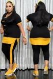 Conjunto de 2 piezas de camisa y pantalones casuales de talla grande de verano