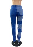 Jeans de parche de cintura alta casual de bloque de color de verano