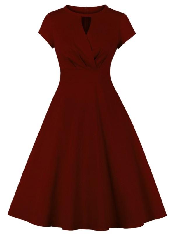 Vestido de fiesta de manga corta de burgunry vintage de verano