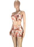 Summer Multicolor Sexy Fitted Strap Crop Top y Shorts Conjunto de 2 piezas