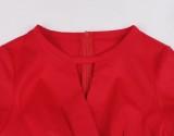 Vestido de fiesta de manga corta rojo vintage de verano