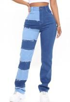 Sommer Color Block Lässige High Waist Patch Jeans