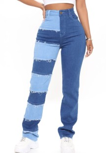 サマーカラーブロックカジュアルハイウエストパッチジーンズ