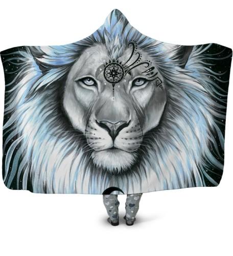Cobertor com capuz grande estampado animal