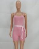 Mamelucos ajustados con correa acanalada rosa casual de verano con cinturón a juego