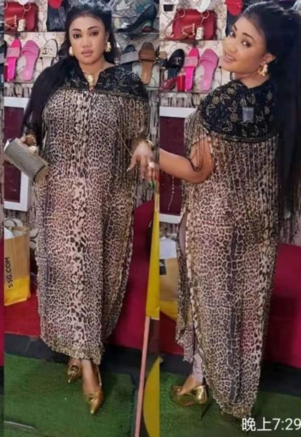Vestido de noche de leopardo con abertura lateral formal de talla grande de verano para madre de la novia