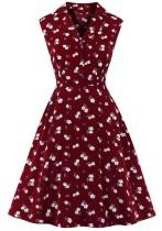 Vestido de fiesta sin mangas floral rojo vintage de verano