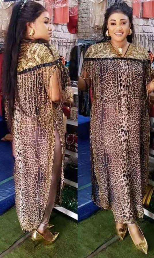 Sommer Plus Size Mutter der Braut Formales Abendkleid mit seitlichem Schlitz und Leopardenmuster