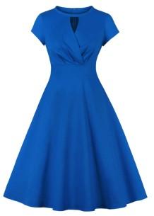 Vestido de fiesta de manga corta azul vintage de verano