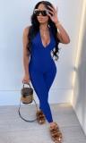 Verano sexy azul sin mangas Deep-V halter bodycon mono