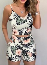 Summer Classic Print Strap Crop Top and Matching Shorts 2PC Set