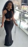 Conjunto de falda larga y top corto con cordones fruncidos en negro de verano