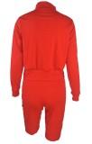 Chándal de pantalones cortos de manga larga con cremallera roja de otoño