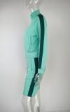 Chándal de pantalones cortos de manga larga con cremallera verde otoño