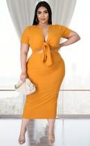 Conjunto de falda midi y top corto anudado amarillo informal de verano de talla grande