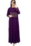 Verano Dubai árabe Oriente Medio musulmán Kaftan islámico Abaya vestido largo púrpura