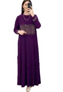 Sommer Dubai Arabischer Naher Osten Muslimischer Kaftan Islamischer Abaya Lila Langes Kleid