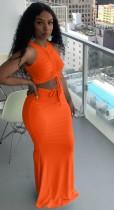 Conjunto de falda larga y top corto con cordones fruncidos de verano naranja