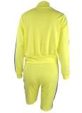 Chándal de pantalones cortos de manga larga con cremallera amarillo de otoño