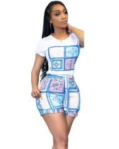 Summer Casual Print Shirt and Matching Shorts 2PC Set