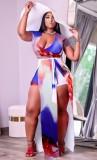 Summer Plus Size Tie Dye Wrap Crop Top y Overlay Shorts 2PC Set