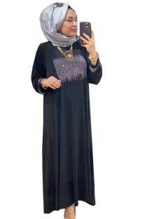 Sommer Dubai Arabischer Naher Osten Muslimischer Kaftan Islamischer Abaya Schwarzes Langes Kleid