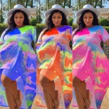 Summer Plus Size Tie Dye High Low Shirt y Biker Shorts Conjunto de 2 piezas